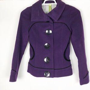 Soia & Kyo Purple Peacoat Jacket Button Up